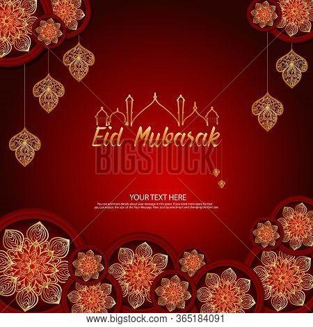 Eid Mubarak Greeting Card Illustration. Vector Wishing For Islamic Festival For Banner, Poster, Back