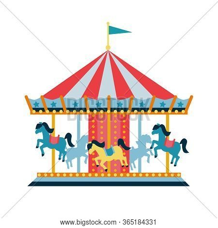 Carousel With Horses Or Merry-go-round For Children, Amusement Park, Circus.  Flat Style Illustratio
