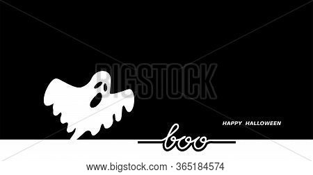 Scary Ghost Negative Black White Vector Background Illustration. Happy Halloween Background, Banner.