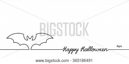 Bat Vector Illustration With Lettering Happy Halloween. One Continuous Line Drawing Background, Bann