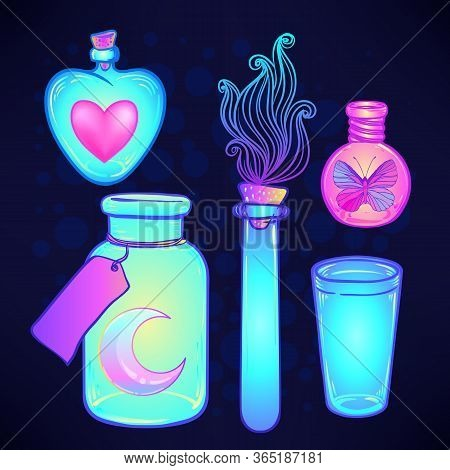 Magic Potion, Blue Bottle Jar Set With Pink Moon, Crystals, Heart, All Seeing Eye And Glowing Stars