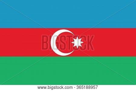 Azerbaijan Flag Vector Graphic. Rectangle Azerbaijani Flag Illustration. Azerbaijan Country Flag Is