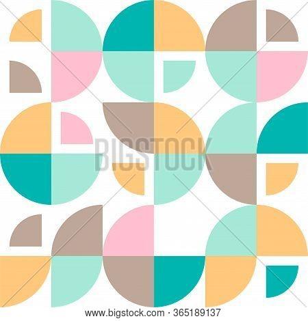 Geometrical Simple Vintage Retro Vector Pattern. Swiss Modernism Retro Geometric Circle, Round Shape