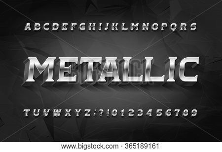 Metallic Alphabet Font. 3d Chrome Effect Letters And Numbers With Shadow. Polygonal Background. Stoc