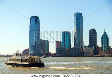 New York, Usa - March 9, 2020: View Of The Skyscrapers In Jersey City From Manhattan, Rockefeller Pa