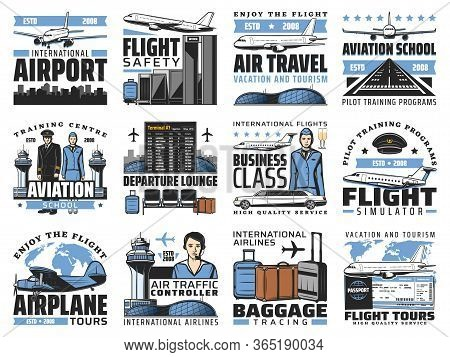 Airport And Aviation, Aircrew And Air Travel Vector Icons. Airplanes, Pilot School And Flight Simula