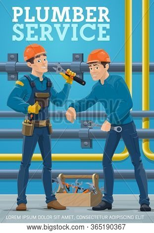 Plumber Service, Pipes Repair And Maintenance Vector Poster. Plumber Workers With Tools And Toolbox
