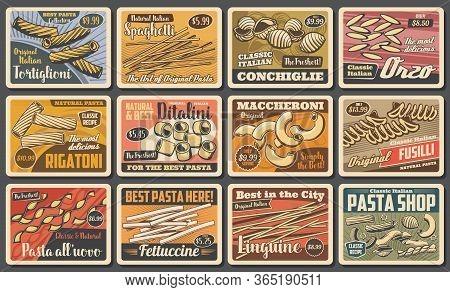 Italian Pasta, Traditional Cuisine Food, Restaurant Menu Vector Vintage Posters. Homemade Fettuccine