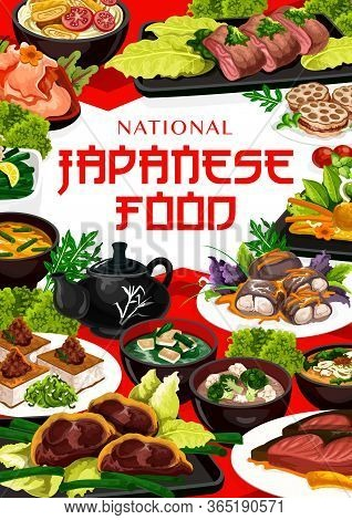 Japanese Cuisine Food, Vector Restaurant Menu With Japan Traditional Dishes. Japanese Meat, Tofu Ste