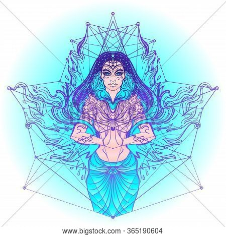 Asian Magic Woman With Sacred Geometry And Fire. Vector Illustration. Mysterious Thai Girl Over Myst