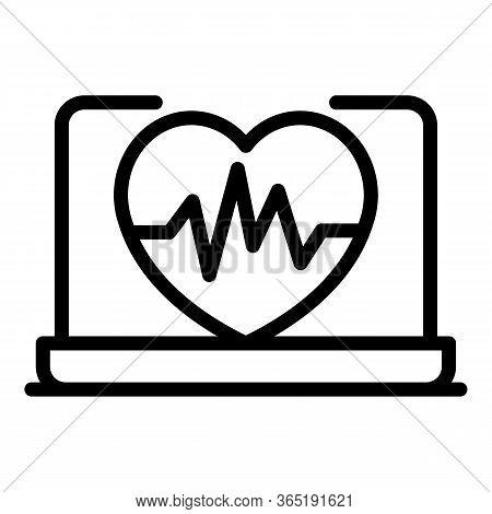 Cardiac Diagram Icon. Outline Cardiac Diagram Vector Icon For Web Design Isolated On White Backgroun