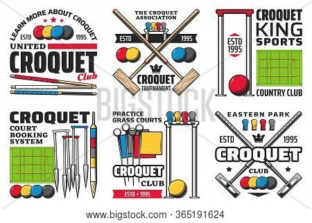 Croquet Sport Icons With Vector Balls, Mallets, Hoops And Wickets, Scoring Posts, Centre Pegs, Corne