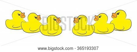 Yellow Duck Toy On White Background. Business, Leadership, Teamwork Or Friendship Concept. Vector Il