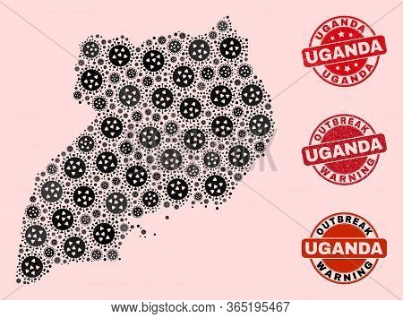 Outbreak Composition Of Virus Mosaic Uganda Map And Dirty Seal Stamps. Vector Red Seals With Grunge