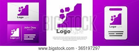 Logotype Landslide Icon Isolated On White Background. Stones Fall From The Rock. Boulders Rolling Do