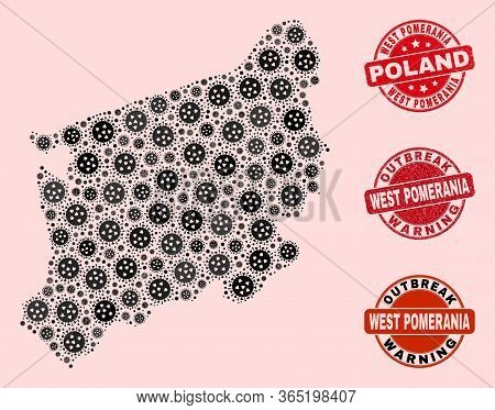 Outbreak Combination Of Covid-2019 Mosaic West Pomeranian Voivodeship Map And Grunge Seals. Vector R