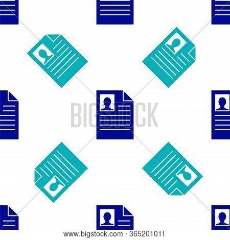 Blue Resume Icon Vector Photo Free Trial Bigstock