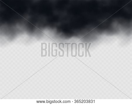 Black Smoke Cloud, Stormy Weather. Air Pollution Concept. Black Cloudiness Or Smog. Realistic Thick