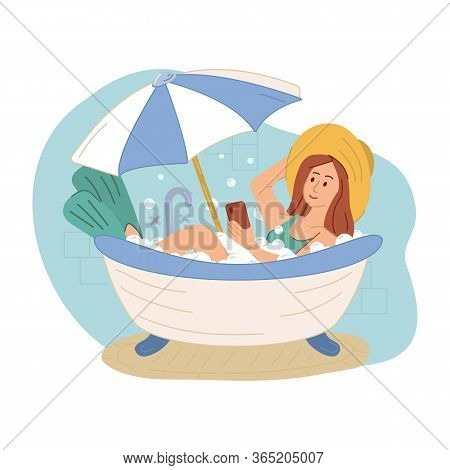 Girl Imitating Oversea Vacation On Beach In Bathtub In Bathroom At Home During Quarantine. Woman In