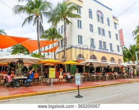 Miami, United States Of America - November 30, 2019: Edison Hotel At Ocean Drive In Miami Beach, Flo