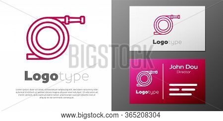 Logotype Line Garden Hose Or Fire Hose Icon Isolated On White Background. Spray Gun Icon. Watering E