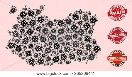Outbreak Combination Of Virus Mosaic Ciudad Real Province Map And Unclean Seal Stamps. Vector Red Im