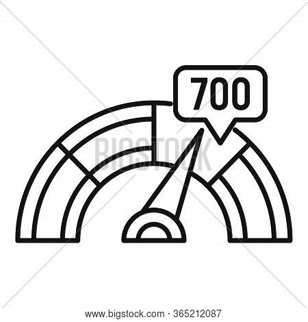 Credit Score Indicator Icon. Outline Credit Score Indicator Vector Icon For Web Design Isolated On W
