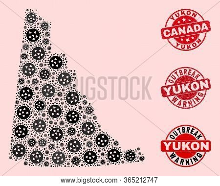 Outbreak Combination Of Covid-2019 Mosaic Yukon Province Map And Unclean Seal Stamps. Vector Red Imp