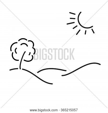 Simple Kid-style Illustration Of A Sunny Meadow, Tree And Hilly Landscape, Hand-drawn.