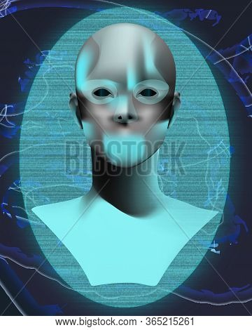 Android, Artificial Intelligence, Retro Illustration On Abstract Background