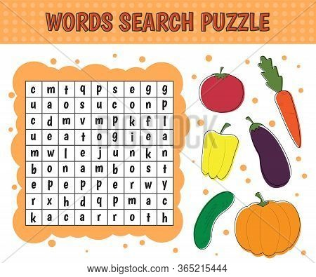 Word Search Puzzle.vegetables: Cucumber, Eggplant, Tomato, Pepper, Pumpkin, Carrot. Vector Education