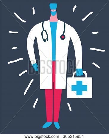 Hand Drawn Vector Illustration. Professional Physician, General Practitioner Cartoon Character. Funn