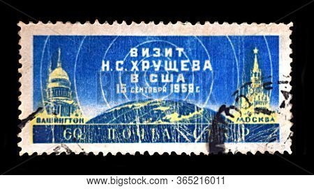 Bakhmut, Ukraine, May, 2020. A Postage Stamp Dedicated To The Visit Of Khrushchev To The United Stat