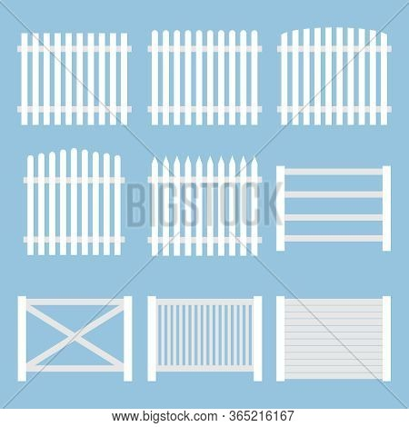 Fence. White Vintage Fence Isolated On A Blue Background. Vector, Cartoon Illustration.