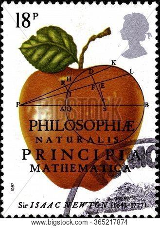 02.09.2020 Divnoe Stavropol Krai Russia The Postage Stamp Great Britain 1987 The 300th Anniversary O