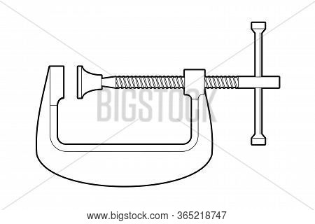 Clamping Clamp Type G - Flat Illustration On A White Background, Coloring Book. Manual Carpentry Too
