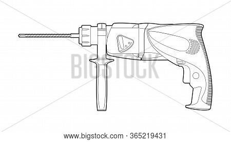 Puncher And Drill - Illustration On A White Background, Coloring Book. Manual Carpentry Tool For Rep