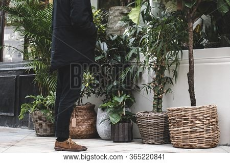 A Well-dressed Man Looking Inside A Boutique Plant Shop In The City Of London.