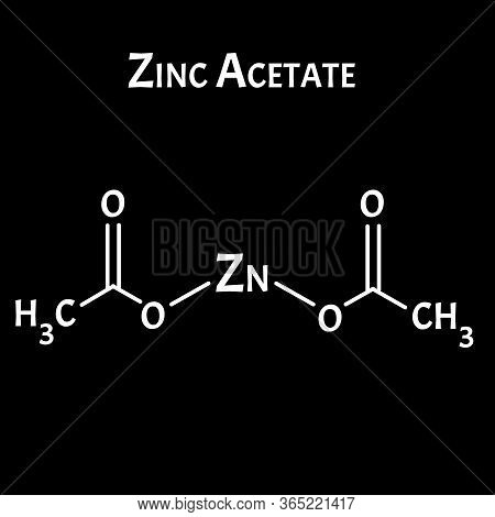 Zinc Acetate Is A Molecular Chemical Formula. Zinc Infographics. Vector Illustration On Isolated Bac