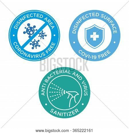Coronavirus Free Icon Set. Round Symbols For Disinfected Areas, Surfaces Or Products Of Covid-19.