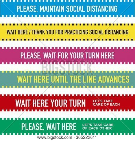 Please, Wait Here. Set Of Floor Bands To Maintain Social Distance In Stores And Shops. Commercial Fl