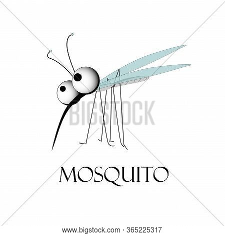 Cute Character Of A Mosquito. Blood Sucking Insect. The Carrier Of Disease. Vector Illustration..