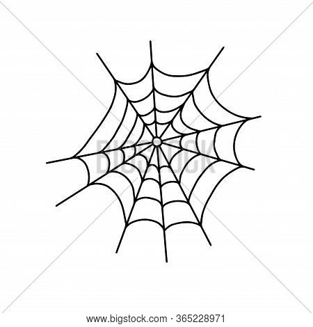 Vector Outline Illustration Of A Simple Fancy Halloween Spider Web, Isolated Object On The White Bac