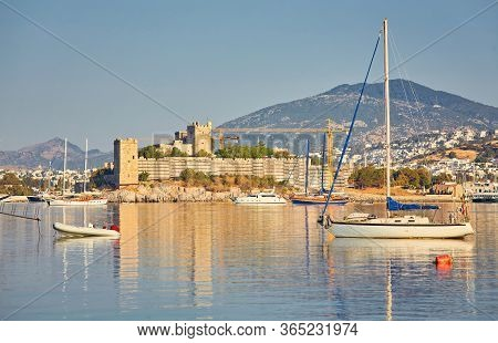 View Of Bodrum Beach, Aegean Sea, Traditional White Houses, Flowers, Marina, Sailing Boats, Yachts I