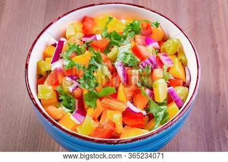 Mango Salsa Close Up With Jalapeno Peppers, Tortillas And Lime. Traditional Dish And Appetizer For C
