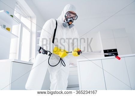 Low Angle View Photo Of Focused Guy Worker Hold Sprayer Latex Gloves Gas Glasses Hands Spray Steam D