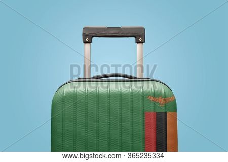 Suitcase With Zambia Flag Design Travel Africa Concept.