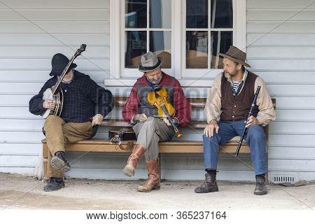 Ballarat, Australia - March 7th, 2020: A Trio Of Street Musicians In A Recreated Gold Mining Town.