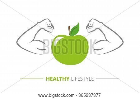 Healthy Lifestyle Strong Apple With Muscular Arms Vector Illustration Eps10
