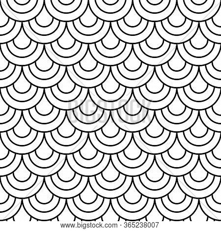 Japane Secircle Wave Seamless Pattern. Fish, Mermaid, Dragon, Snake, Scallop Scales. Tail Scale Patt